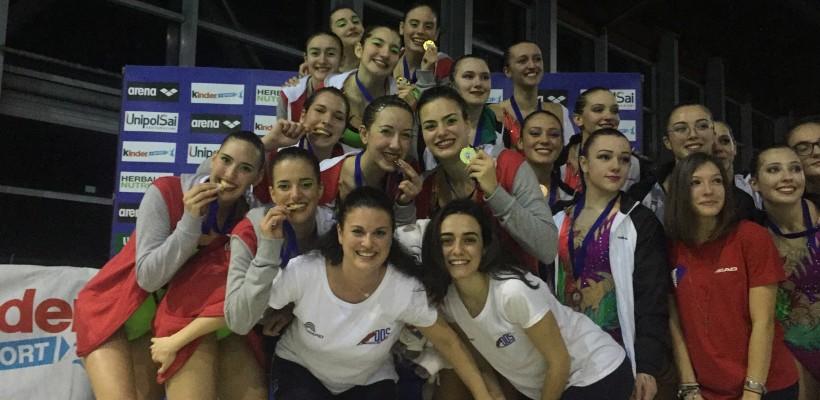 Che Bomba i campionati Italiani propaganda sincro. 4 ori e 1 bronzo